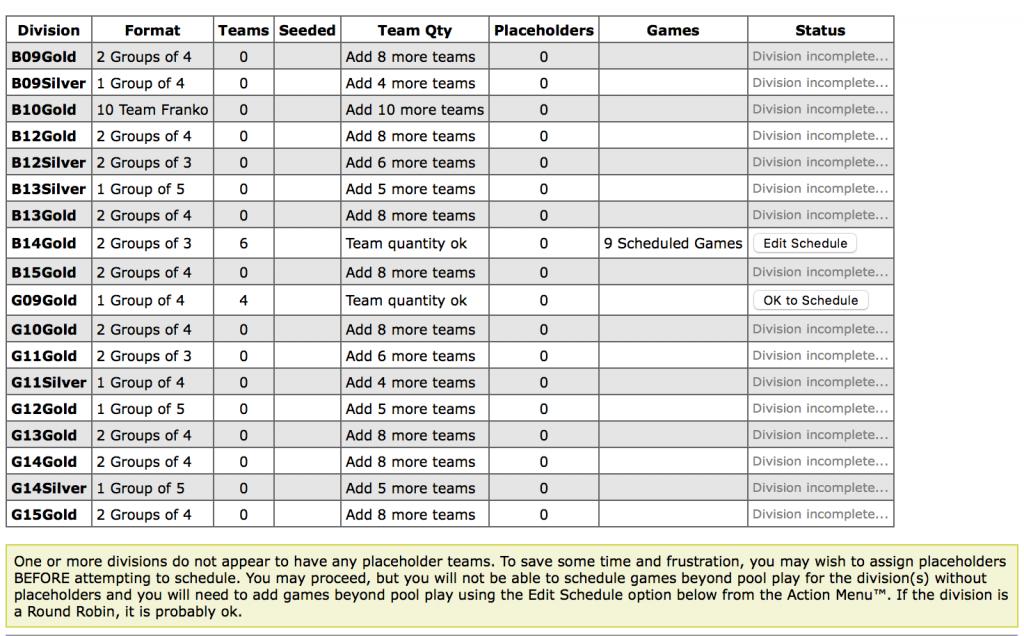Schedule grid