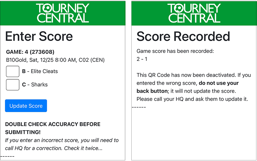 Score entry screen from a QR Code scan