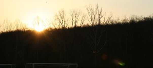 sunrise over soccer fields