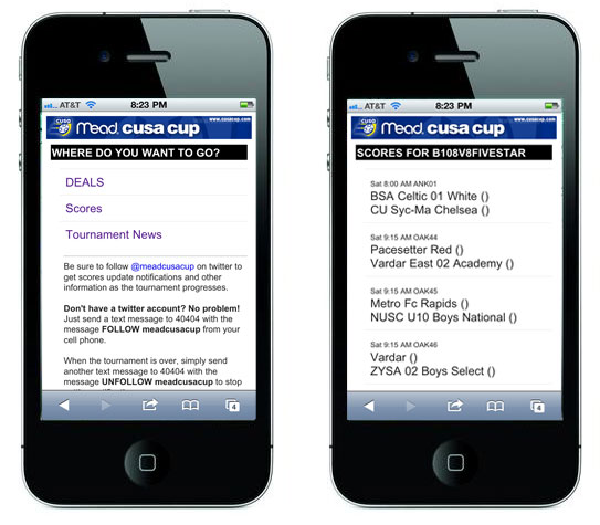 TourneyCentral mobile web app screen shots
